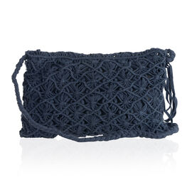 Navy Full Fringes Crossbody Bag (Size 22x14 Cm)