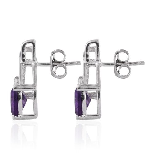 Amethyst (Trl), Simulated Diamond Earrings (with Push Back) in Platinum Overlay Sterling Silver 2.000 Ct.