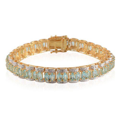 Paraibe Apatite (Ovl), Diamond Bracelet in 14K Gold Overlay Sterling Silver (Size 7.5) 14.020 Ct.