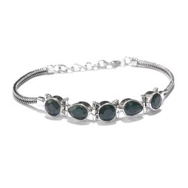 Enhanced Emerald Bracelet (Size 8) in Sterling Silver 13.500 Ct.