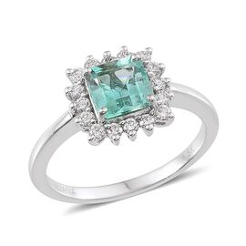 ILIANA 18K W Gold Boyaca Colombian Emerald (Oct 1.40 Ct), Diamond Ring 1.800 Ct.