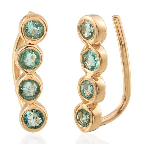 Boyaca Colombian Emerald (Rnd) Climber Earrings in 14K Gold Overlay Sterling Silver 1.000 Ct.