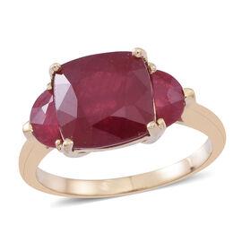 Designer Inspired-9K Y Gold AAA African Ruby (Cush/Half Moon) Ring 8.000 Ct.