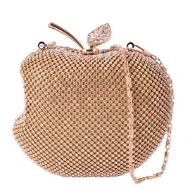 White Austrian Crystal Studded Apple Design Clutch Bag in Yellow Gold Tone with Removeable Chain Strap (Size 14x12 Cm)