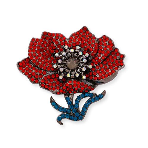 (Option 1) Stunning Bright Multi Austrian Crystal Floral and leaf Enameled Brooch in Black Tone
