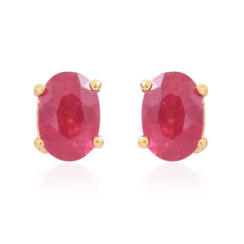AAA African Ruby (Ovl) Stud Earrings (with Push Back) in 14K Gold Overlay Sterling Silver 1.250 Ct.