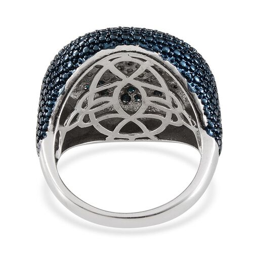 Blue Diamond (Rnd) Cluster Ring in Platinum Overlay Sterling Silver 0.500 Ct.
