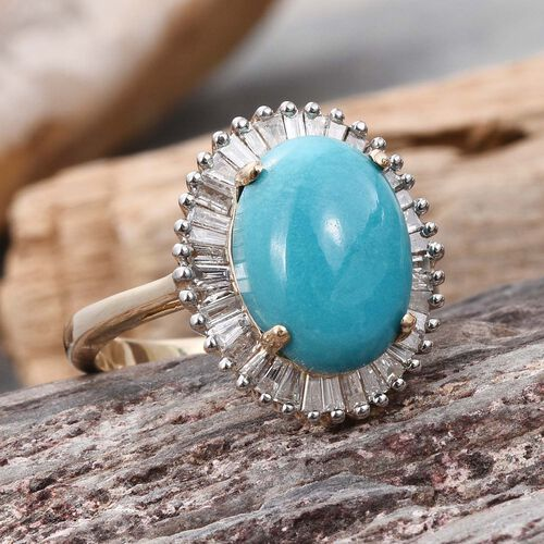 9K Y Gold Arizona Sleeping Beauty Turquoise (Ovl 4.50 Ct), Diamond Ring 5.500 Ct.