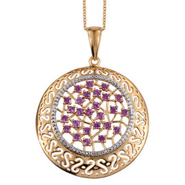Rare Mozambique Grape Colour Garnet (Rnd) Pendant With Chain in 14K Gold Overlay Sterling Silver 2.500 Ct.
