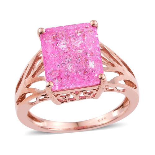 Pink Crackled Quartz (Oct) Solitaire Ring in Rose Gold Overlay Sterling Silver 6.000 Ct.