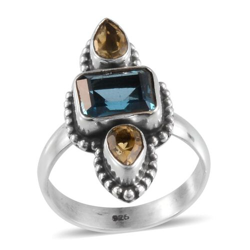 Jewels of India London Blue Topaz (Oct 2.67 Ct), Citrine Ring in Sterling Silver 3.490 Ct.