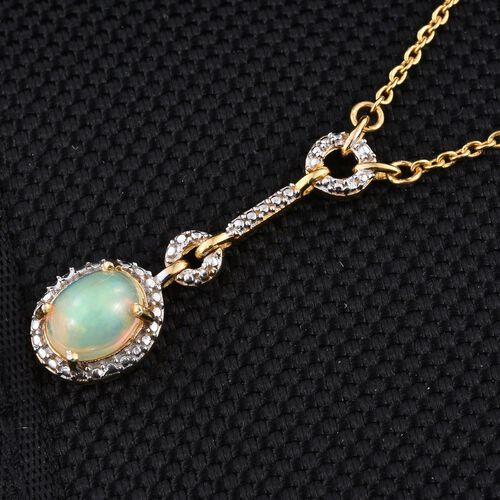 AAA Ethiopian Welo Opal (Ovl) Necklace (Size 18) in 14K Gold Overlay Sterling Silver 1.000 Ct.