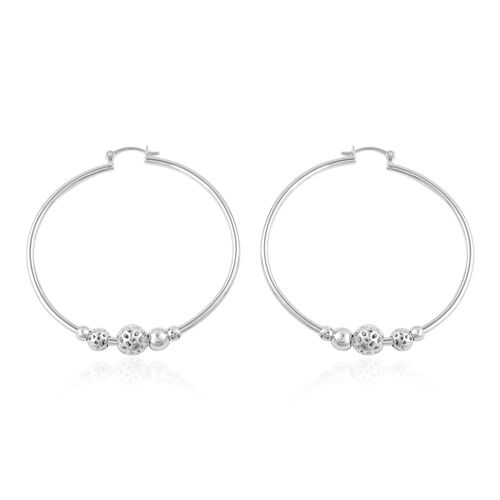 RACHEL GALLEY Rhodium Plated Sterling Silver Lattice Balls Hoop Earrings (with Clasp), Silver wt 12.41 Gms.