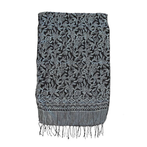 Grey and Black Colour Batik Print 100% Silk Scarf (Size 150x45 Cm)