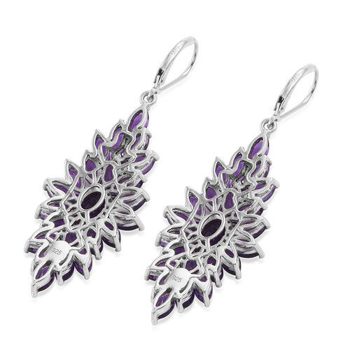 Amethyst (Ovl) Lever Back Earrings in Platinum Overlay Sterling Silver 12.000 Ct.