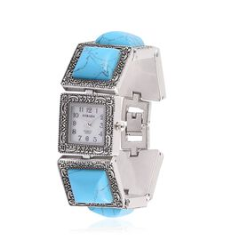 STRADA Japanese Movement White Dial Water Resistant Watch in Silver Tone With Stainless Steel Back and Blue Howlite Strap 125.000 Ct.