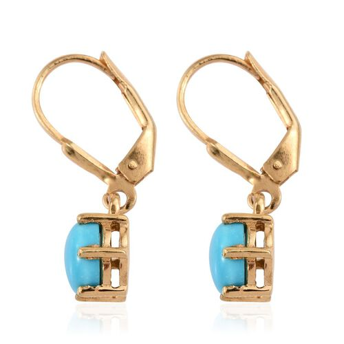 Arizona Sleeping Beauty Turquoise (Rnd) Lever Back Earrings in 14K Gold Overlay Sterling Silver 2.250 Ct.