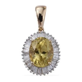9K Y Gold Rare Natural Canary Apatite (Ovl 3.00 Ct), Diamond Pendant 3.500 Ct.