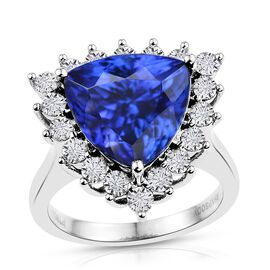 Rhapsody AAAA Tanzanite (8.81 Ct) and Diamond 950 Platinum Ring  9.750  Ct.