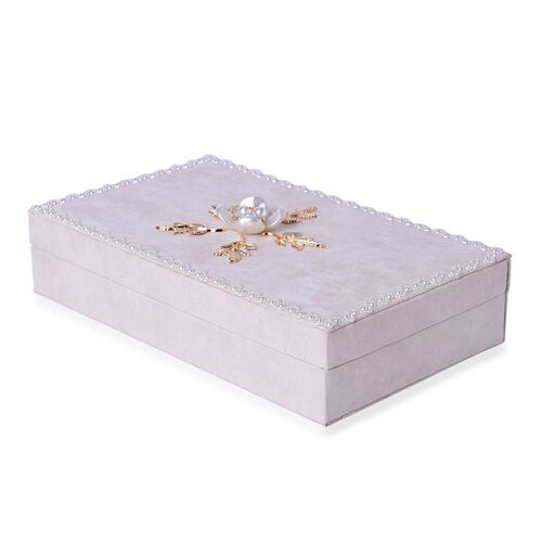 Handcrafted Lacy Border and Flower Embellished Cream Colour Velvet Jewelry Box with Mirror Inside (Size 25.5X15X6 Cm)