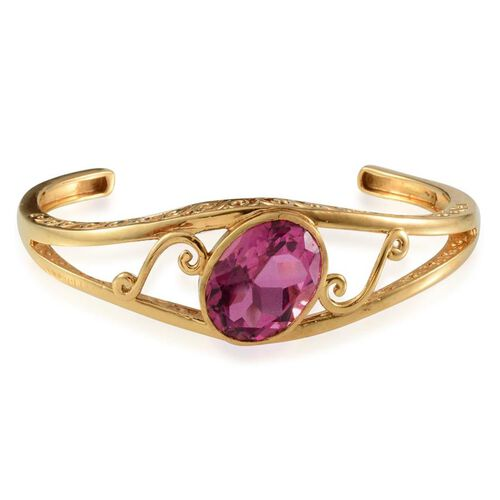 Radiant Orchid Quartz (Ovl) Bangle in ION Plated 18K YG Bond (Size 7.5) 17.250 Ct.