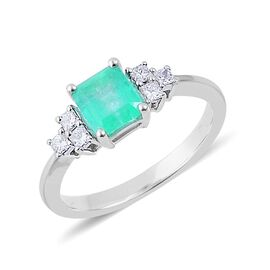 Boyaca Colombian Emerald (Oct), Diamond Ring in 14K W Gold 1.200 Ct.