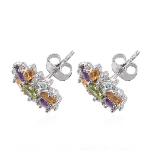 Hebei Peridot (Rnd), Amethyst, Sky Blue Topaz, Citrine and Natural Cambodian Zircon Earrings (with Push Back) in Platinum Overlay Sterling Silver 1.550 Ct.