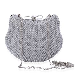 White Austrian Crystal Studded Clutch Bag in Silver Tone with Removable Chain Strap (Size 16x12x4 Cm)