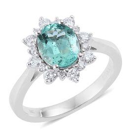 ILIANA 18K W Gold Boyaca Colombian Emerald (Ovl 1.45 Ct), Diamond Ring 1.750 Ct.