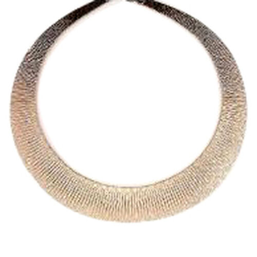 Italian Designer Inspired Rose Gold Overlay Sterling Silver Cleopatra Necklace (Size 17), Silver wt 40.00 Gms.