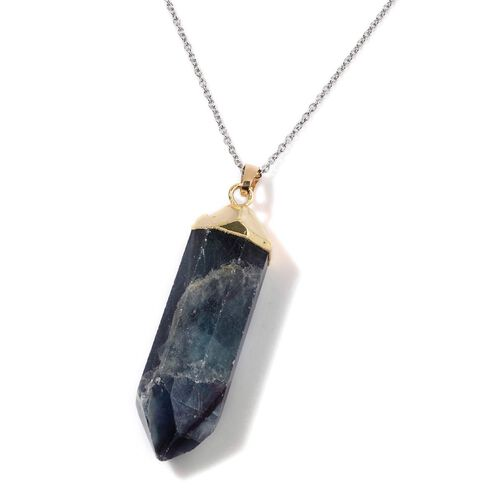 Green Fluorite Pendant in Gold Tone with Stainless Steel Chain 80.000 Ct.