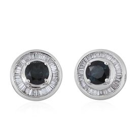 ILIANA 18K W Gold AAA Monte Belo Indicolite (Rnd), Diamond (SI/G-H) Stud Earrings (with Screw Back) 1.250 Ct.