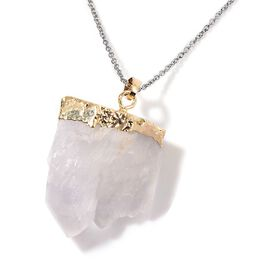 White Quartz Pendant in Gold Tone with Stainless Steel Chain 110.000 Ct.