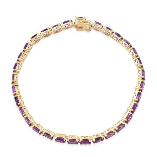 African Amethyst (Ovl) Bracelet (Size 7.5) in Yellow Gold Overlay Sterling Silver 13.500 Ct.