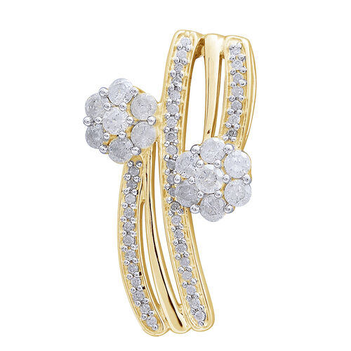 9K Yellow Gold 1 Carat Diamond Twin Floral Pendant SGL Certified I3 G-H