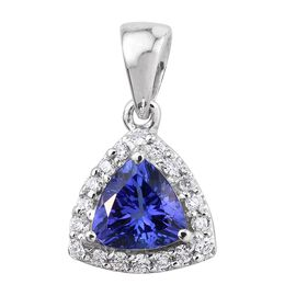 ILIANA 18K White Gold AAA Tanzanite (Trl 1.05 Ct), Diamond (SI G-H) Pendant 1.250 Ct.