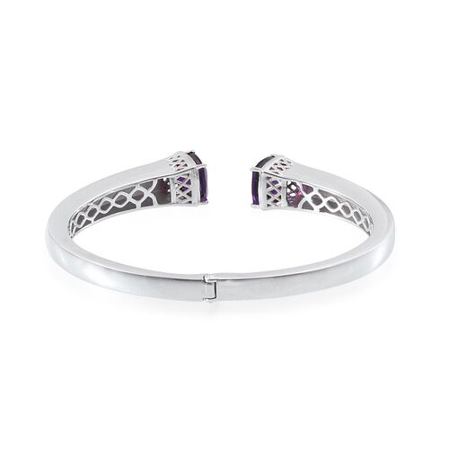 Amethyst (Cush) Bangle (Size 7.5) in ION Plated Platinum Bond 9.250 Ct.