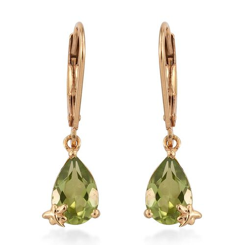 AA Hebei Peridot (Pear) Lever Back Earrings in 14K Gold Overlay Sterling Silver 2.750 Ct.