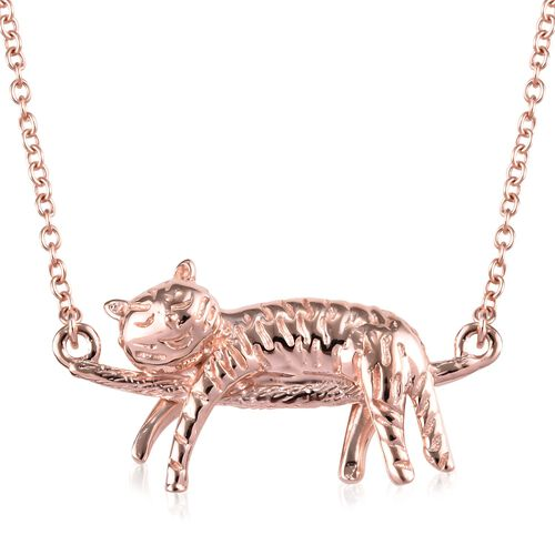 Rose Gold Overlay Sterling Silver Cat Necklace (Size 18), Silver wt 5.50 Gms.