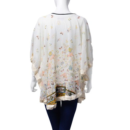 Multi Colour Floral and Butterfly Pattern White Colour Poncho (Free Size)