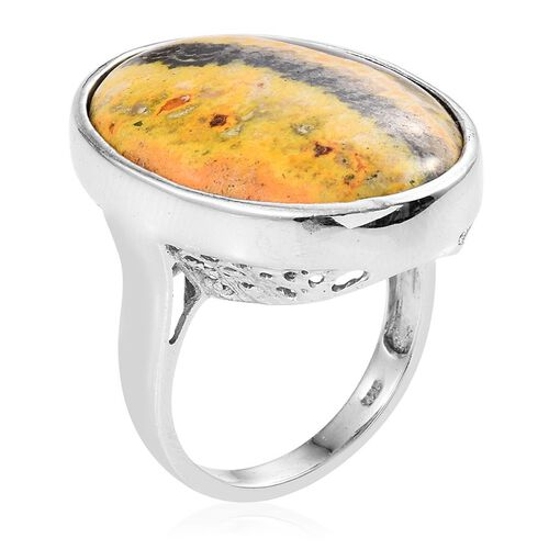 Bumble Bee Jasper (Ovl) Ring in Platinum Overlay Sterling Silver 30.000 Ct.