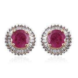 ILIANA 18K Y Gold AAAA Burmese Ruby (Ruby), Diamond (SI /G-H) Stud Earrings 1.450 Ct.