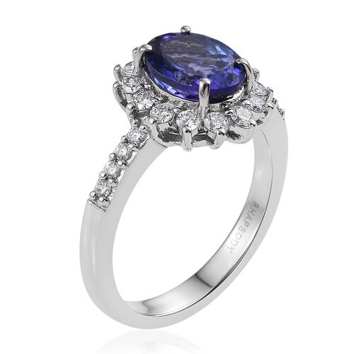 RHAPSODY 950 Platinum 3.25 Carat AAAA Tanzanite Oval Engagement Ring, Diamond VS E-F.