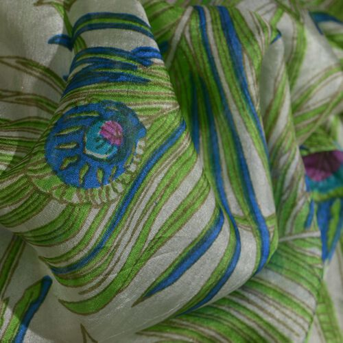 SILK MARK- Made In Kashmir 100% Mulberry Silk Blue, Green and Multi Colour Peacock Feather Pattern Scarf (Size 170x50 Cm)