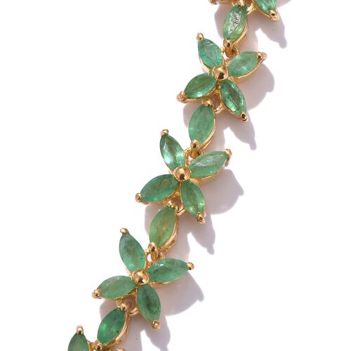 Kagem Zambian Emerald (Mrq) Necklace (Size 18) in 14K Gold Overlay Sterling Silver 12.250 Ct.