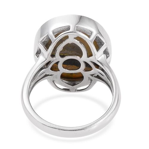 Bumble Bee Jasper (Ovl) Ring in Platinum Overlay Sterling Silver 11.750 Ct.