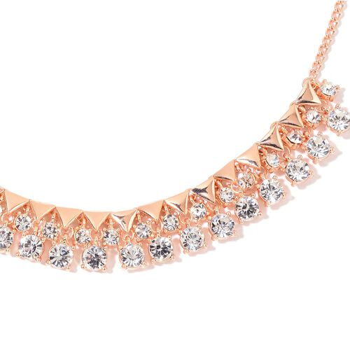 AAA White Austrian Crystal BIB Necklace (Size 18 with 2 inch Extender) in Rose Gold Tone