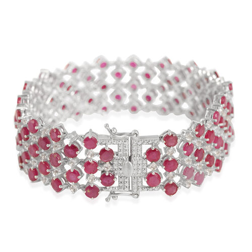 African Ruby (Rnd), White Topaz Bracelet in Platinum Overlay Sterling Silver 32.500 Ct.