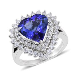 RHAPSODY 950 Platinum 6.15 Carat AAAA Tanzanite Heart Ring With Diamond (VS/E-F)