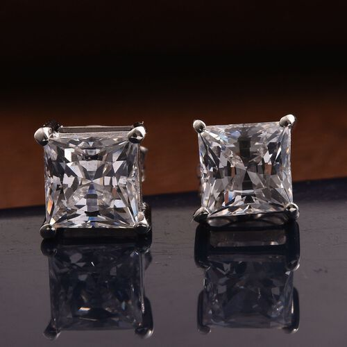 J Francis - Platinum Overlay Sterling Silver (Sqr) Stud Earrings (with Push Back) Made with SWAROVSKI ZIRCONIA
